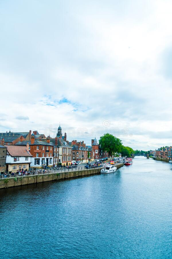 York, Yorkshire, United Kingdom - SEP 3, 2019: York City with River Ouse in York UK. York, Yorkshire, United Kingdom - SEP 3, 2019: York City with River Ouse in royalty free stock photo