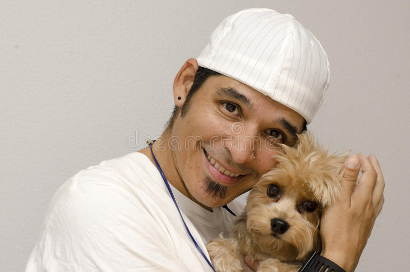 Yorkie and Owner royalty free stock photo
