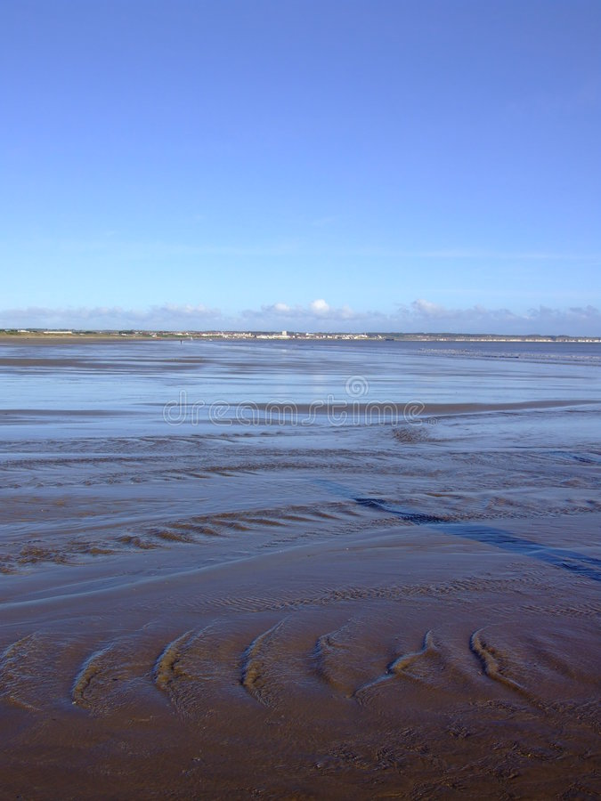 Yorkshire Beach at high tide stock photo