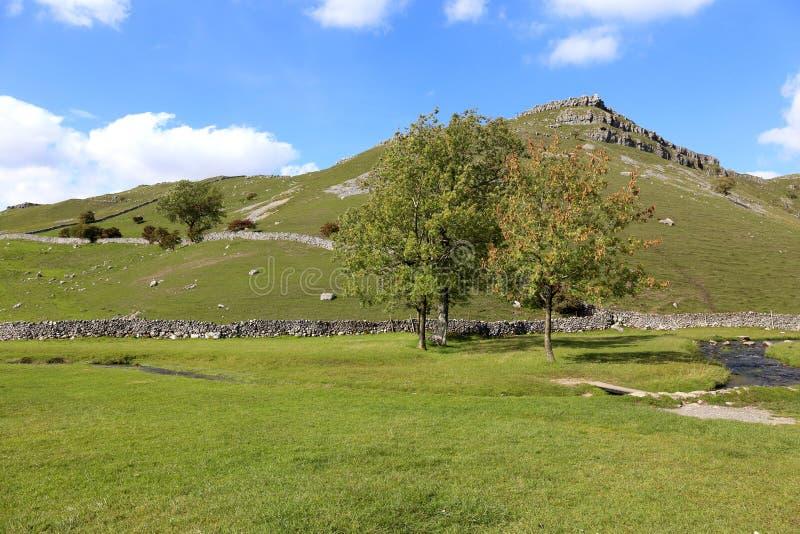 Yorkshire dalar nära det Gordale ärret arkivbilder