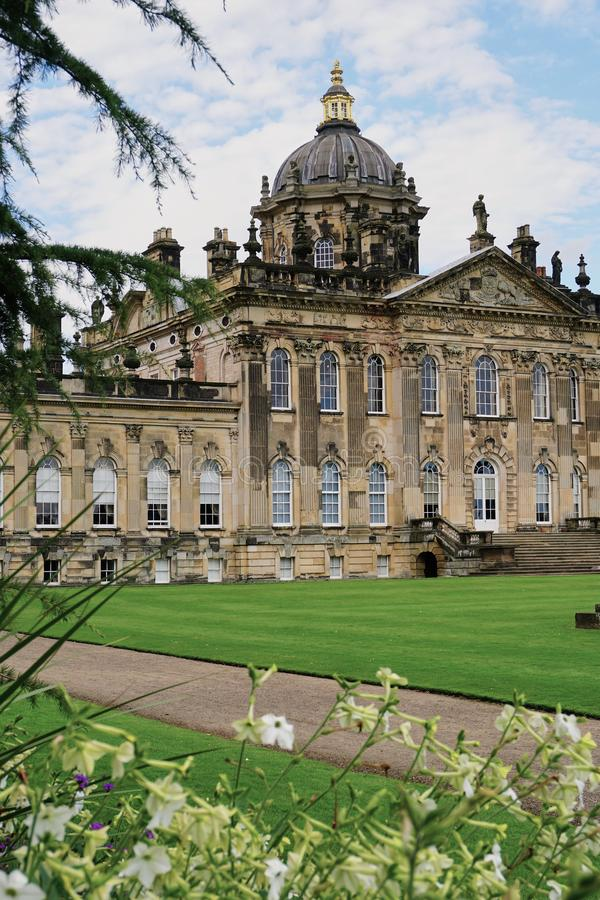 Exterior view of Castle Howard in Yorkshire England. Yorkshire, England - Aug 2016: Exterior view of Baroque style Castle Howard, famous for it`s use in many stock image