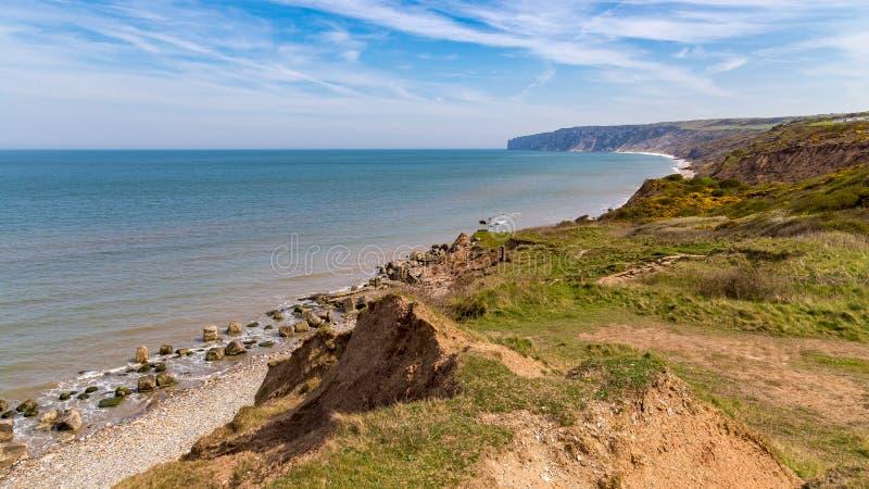 Yorkshire kust nära Filey, UK royaltyfri fotografi