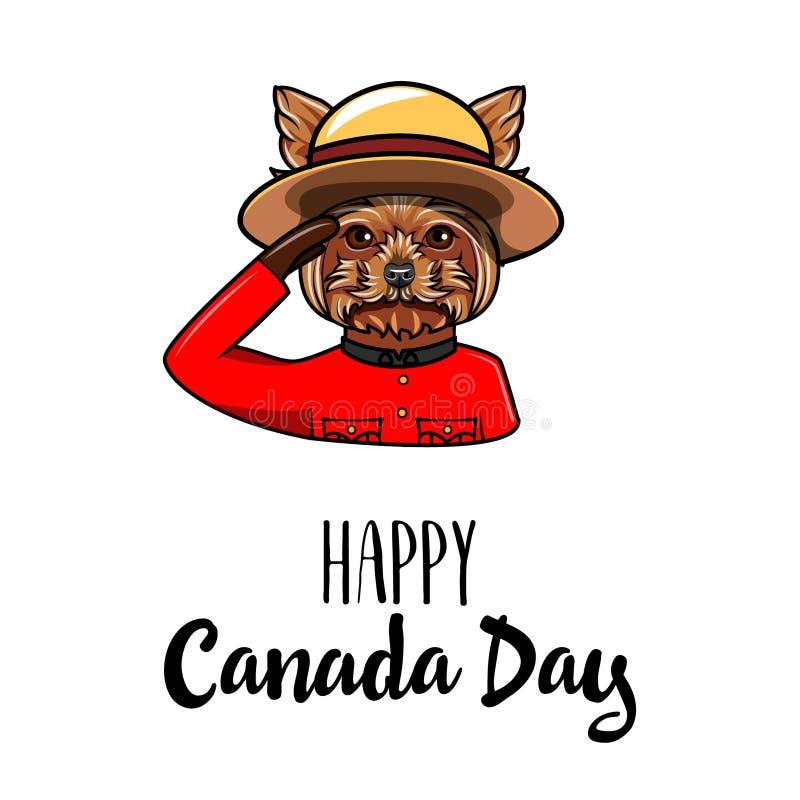 Yorkshire Terrier hund Kanada daghälsning kanadensare monterad poliskunglig person vektor royaltyfri illustrationer