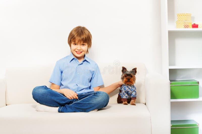 Yorkshire Terrier marrón encantador con el muchacho en el sofá imagenes de archivo