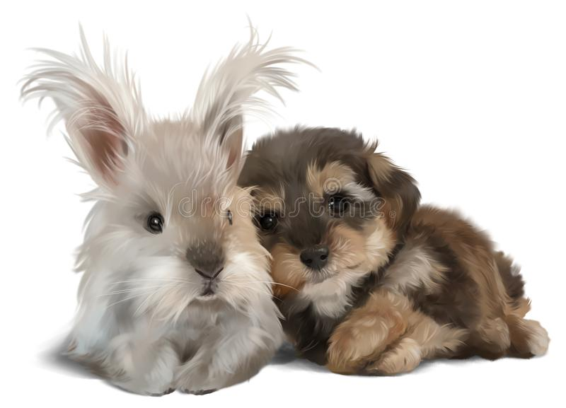 The Yorkshire Terrier and the white rabbit royalty free illustration