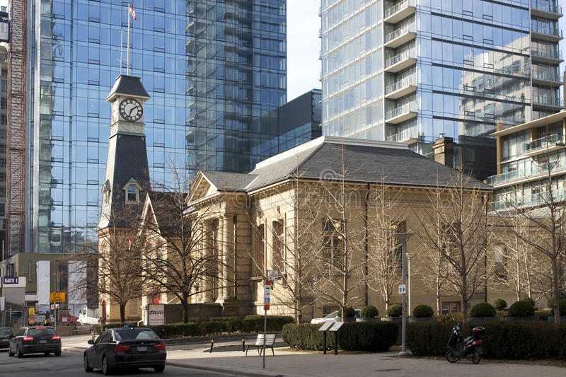 Yorkville Fire Hall and Public Library - Toronto. Historic Yorkville Firehall and Public Library is located west of Yonge Street on the north side of Yorkville stock image