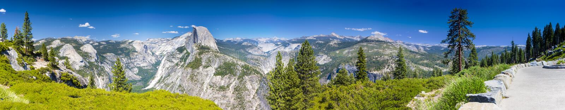 Yosemite πανόραμα πάρκων που λαμβάνεται εθνικό από την παρατήρηση του σημείου cali στοκ εικόνα με δικαίωμα ελεύθερης χρήσης