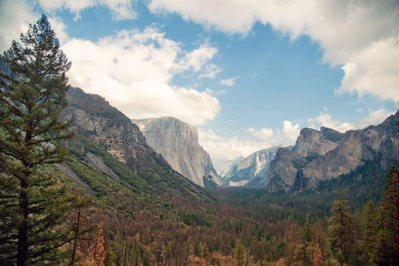 Yosemite dalliggande i Kalifornien USA arkivbild