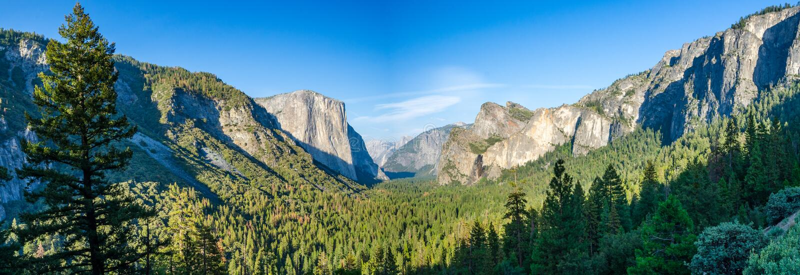 Yosemite dalpanorama arkivbilder
