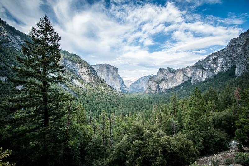 Yosemite el capitan. And half dome scienic view panorama royalty free stock photo