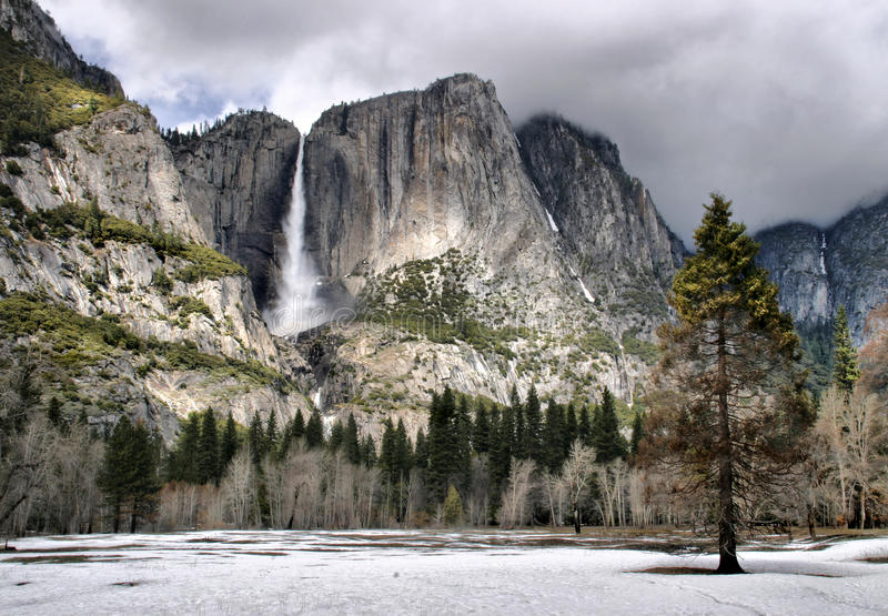 Yosemite Falls in the Winter royalty free stock photos