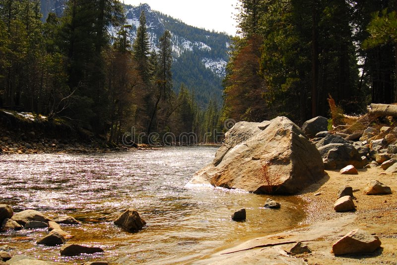 Yosemite Mountain River stock images