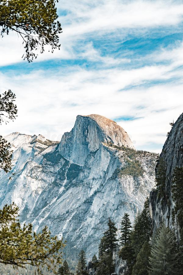 Scenic landscape of Yosemite's Half Dome stock photo