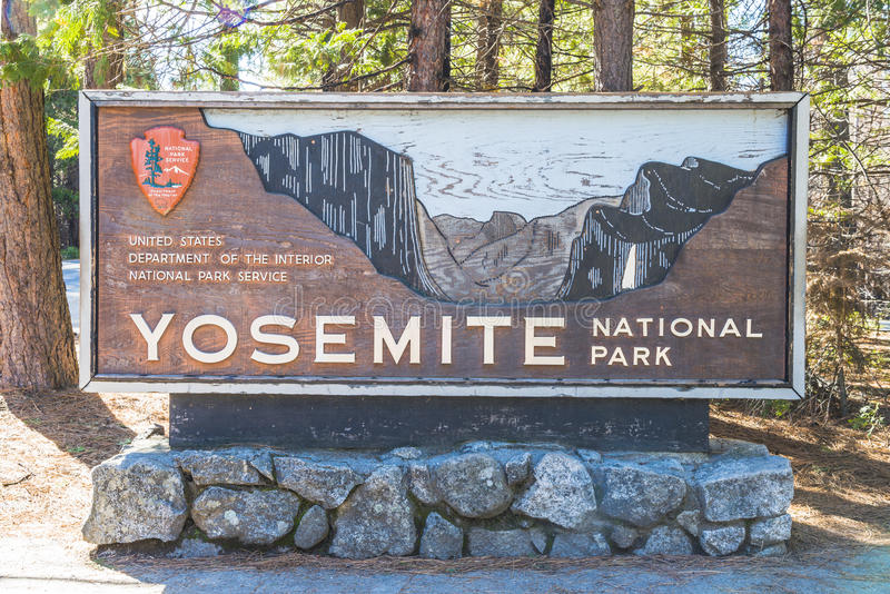 Yosemite National park sign in the entrance,California,usa. stock photography