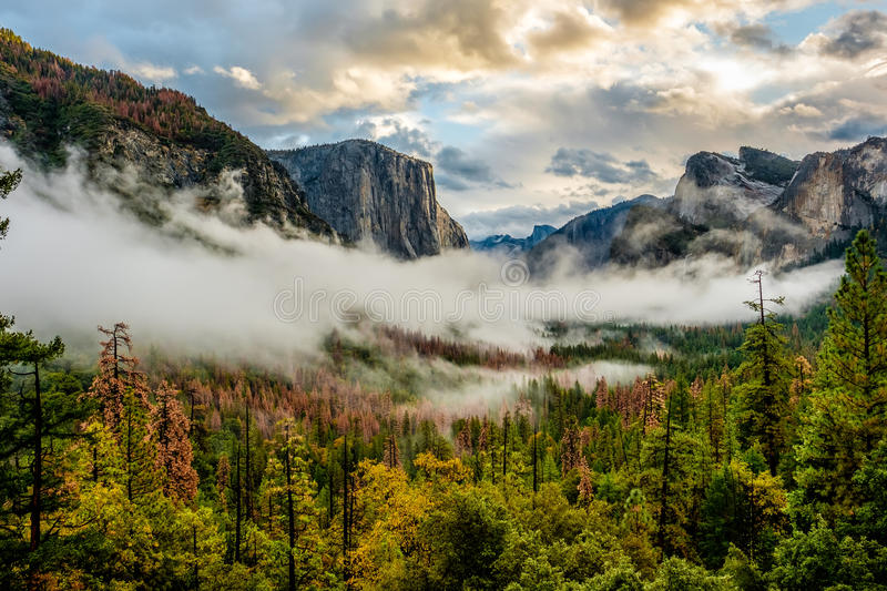 Yosemite Valley at cloudy autumn morning. Yosemite National Park Valley at cloudy autumn morning from Tunnel View. Low clouds lay in the valley. California, USA stock image
