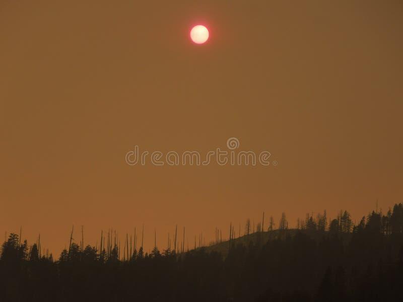 Yosemite nationalparkskogsbränder av 2013 på middagar royaltyfria foton