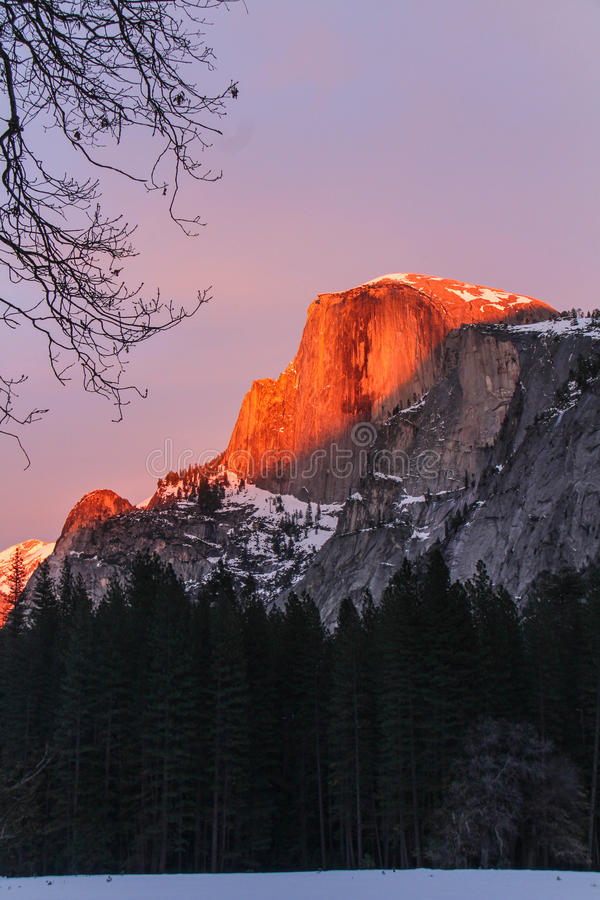 Yosemite parka Halfdome zmierzch zdjęcia royalty free
