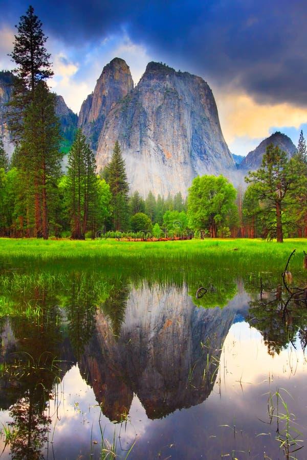 Yosemite Rocks Reflection royalty free stock photo