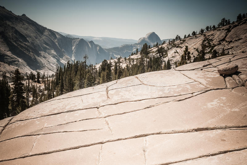 Yosemite. The Scars Of Glaciation In The High Country Up Canyon From Half Dome In  National Park royalty free stock photos