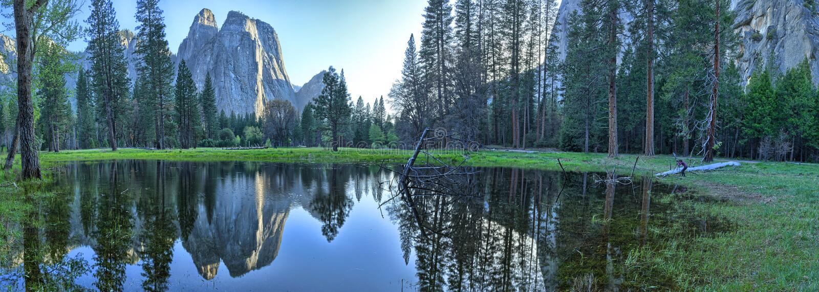 Yosemite Valley. Is a glacial valley in Yosemite National Park in the western Sierra Nevada mountains of California, carved out by the Merced River royalty free stock images