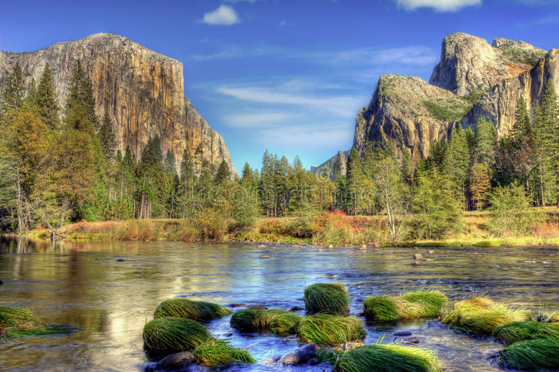 Yosemite Valley in Autumn. Taken from the merced river stock photo