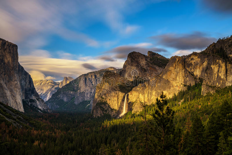 Yosemite Valley and Bridalveil Fall at sunset. From tunnel view, California. Long exposure stock photo