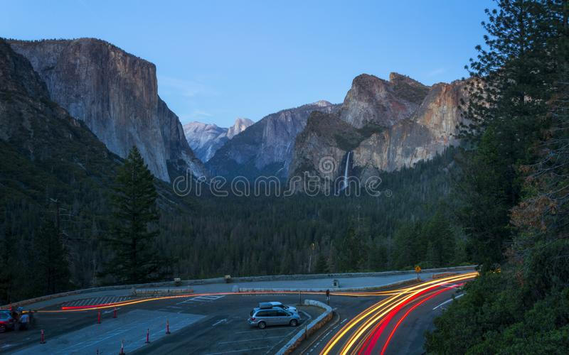 Yosemite Valley and Bridalveil Fall from Tunnel View, Yosemite National Park, UNESCO World Heritage Site, California stock photography