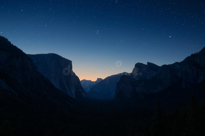 Yosemite valley by night. And under the stars stock photography