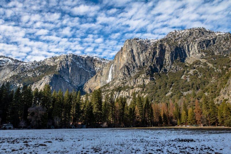 Yosemite Valley with Upper Yosemite Falls during winter - Yosemite National Park, California, USA stock image