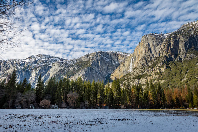 Yosemite Valley with Upper Yosemite Falls during winter - Yosemite National Park, California, USA royalty free stock photos