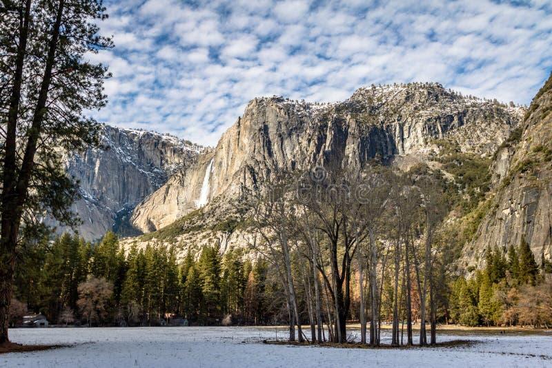 Yosemite Valley with Upper Yosemite Falls during winter - Yosemite National Park, California, USA royalty free stock images