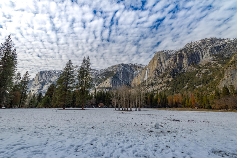 Yosemite Valley with Upper Yosemite Falls during winter - Yosemite National Park, California, USA stock photo