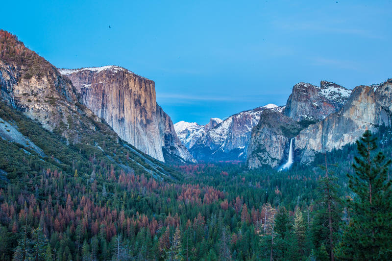 Yosemite Valley in Winter at sunset stock photo