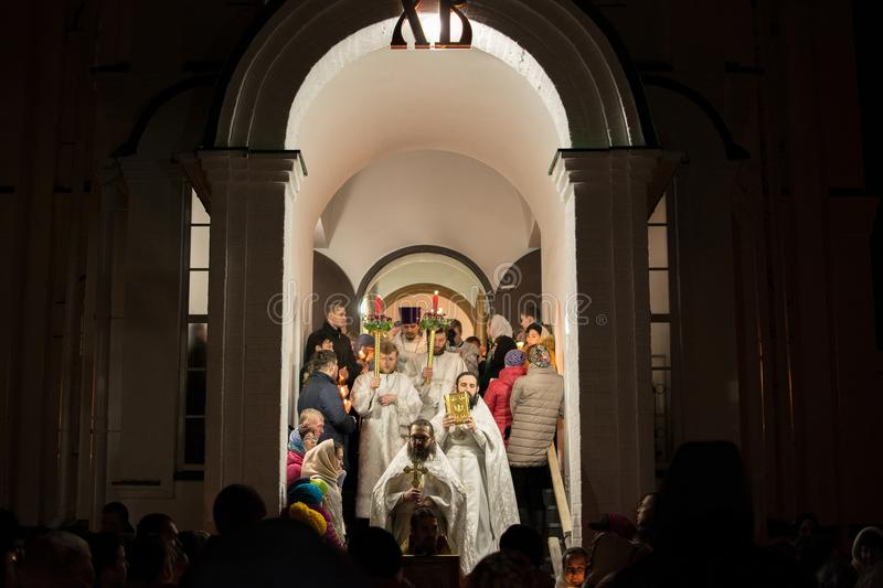 Religious procession in the Church. Yoshkar-Ola, Russia - April 7, 2018 Religious procession in the Church of the Nativity of Christ stock images