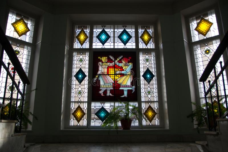 Stained glass window at the National Museum stock images