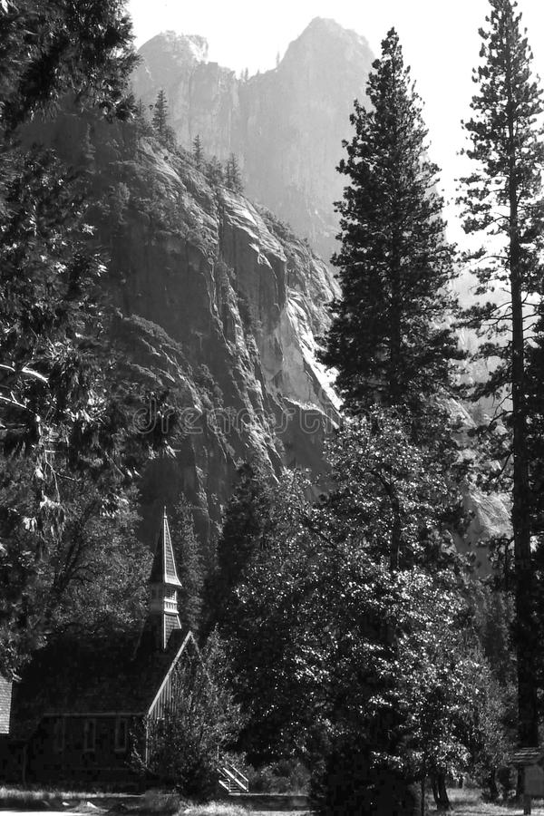 Yosimite National Park Chapel. Yosemite National Park chapel is in California's Sierra Nevada mountains. It's famed for its giant, ancient sequoia stock photography