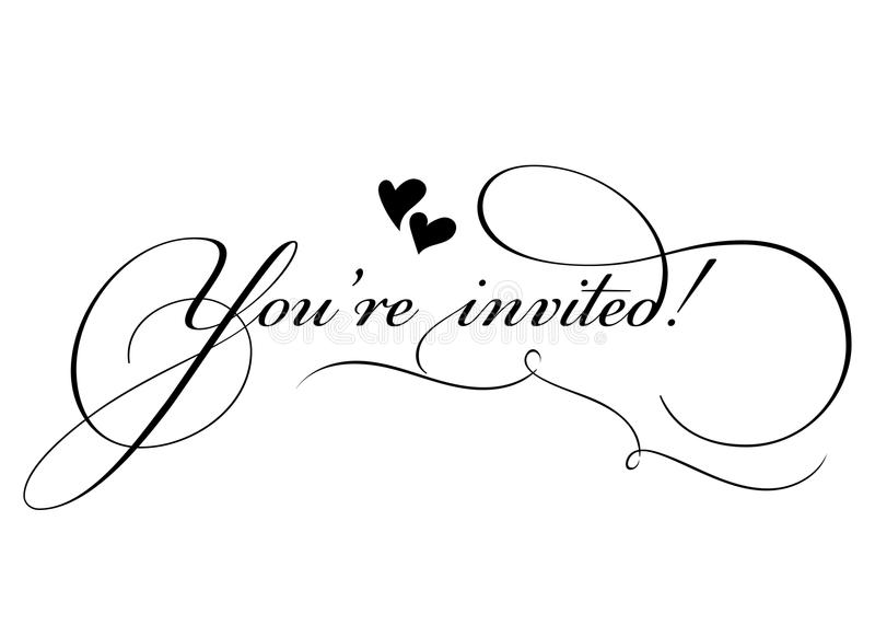 You're Invited! Vector Handmade Calligraphy with Twirl royalty free illustration