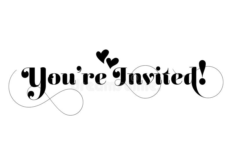 You're Invited! Vector Handmade Calligraphy with Twirl and Two royalty free illustration
