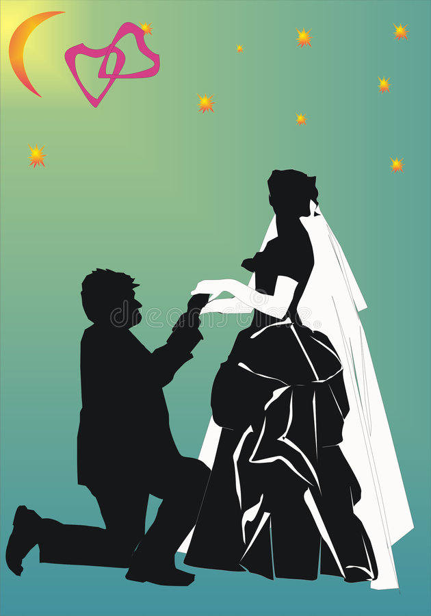 Only you. Illustration with wedding couple silhouette isolated on white background vector illustration