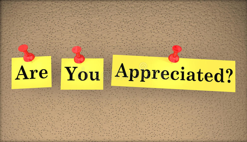 Are You Appreciated Question Words Appreciation. 3d Illustration royalty free illustration