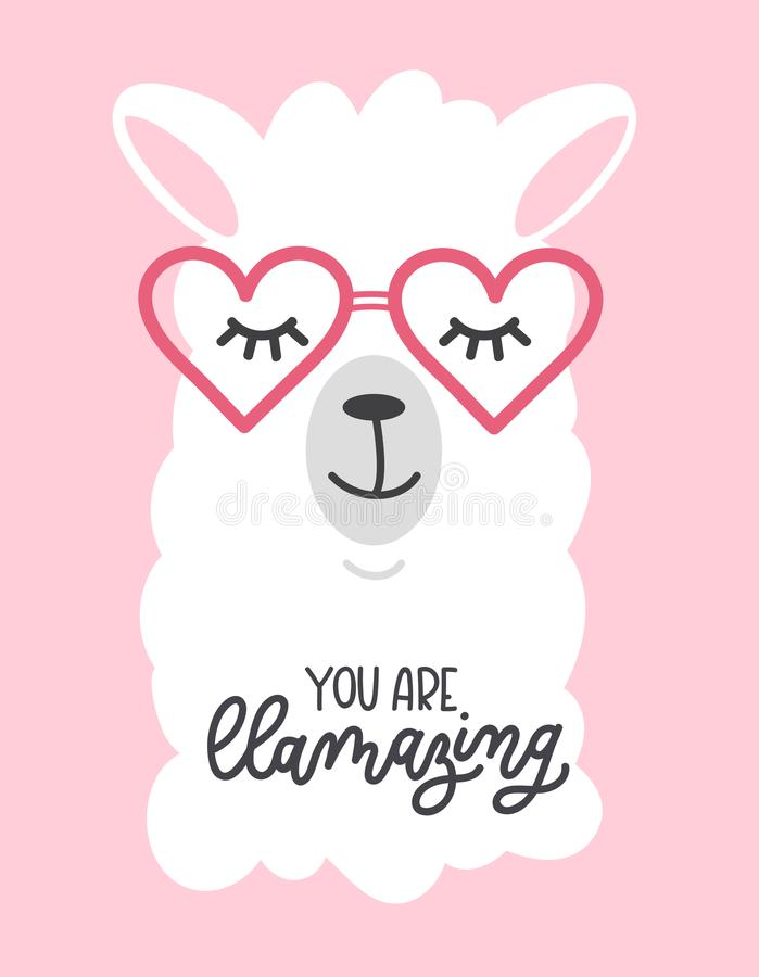 Free You Are Llamazing Llama Quote. Llama Motivational And Inspirational Vector Poster. Simple Cute White Llama Drawing With Lettering Stock Images - 110684494