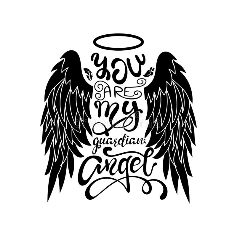 Free `You Are My Guardian Angel!` Black On White Isolated Lettering. Cartoon Angel Wings With A Halo And Calligraphic Message. Royalty Free Stock Photo - 133251205