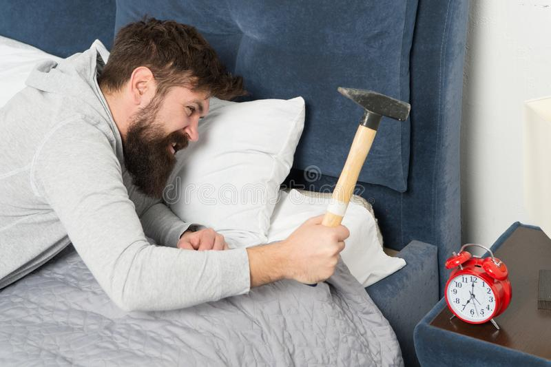 Although you are asleep you may wake up feeling like did not sleep at all. Catch up on missed sleep during weekend. Morning awakening. Stages of sleep. Man royalty free stock images
