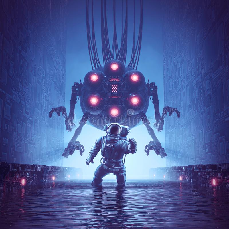 You better run. 3D illustration of science fiction scene showing astronaut trying to escape giant alien robot in watery corridor stock illustration