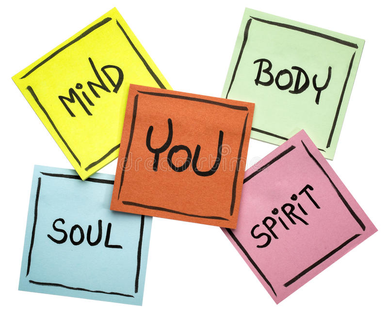 You, body, mind, soul, and spirit - sticky note set. You, body, mind, soul, and spirit concept - handwriting in black ink on isolated sticky notes stock photos