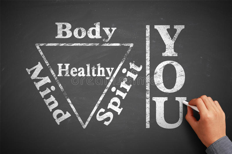 You Body Spirit Soul Mind Healthy. Hand with chalk is writing the concept of You Body Spirit Soul Mind Healthy on the blackboard royalty free stock photos