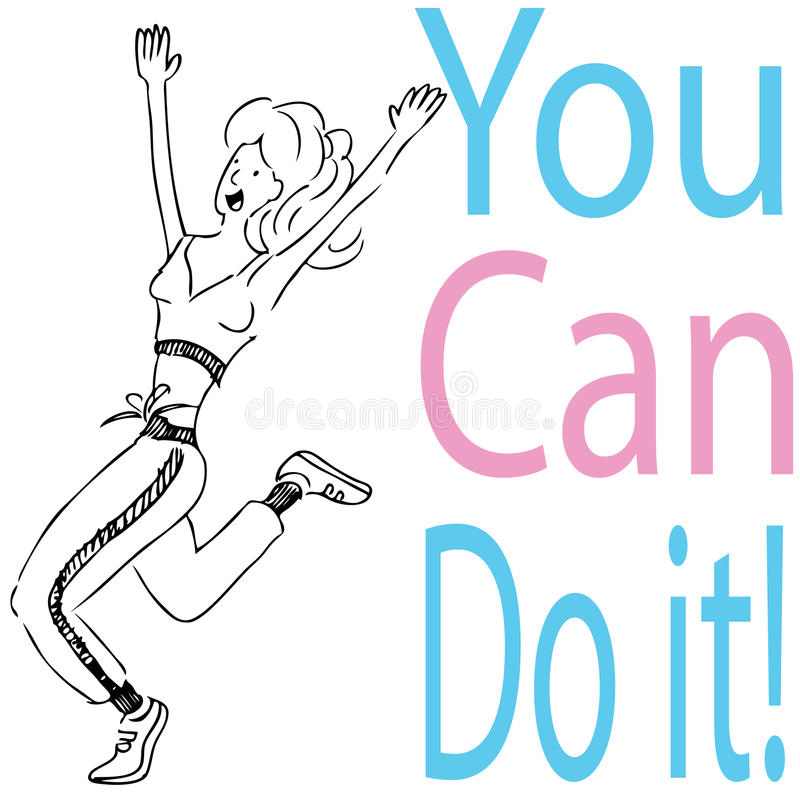 Download You Can Do It! stock vector. Image of clip, girl, exercising - 18424812