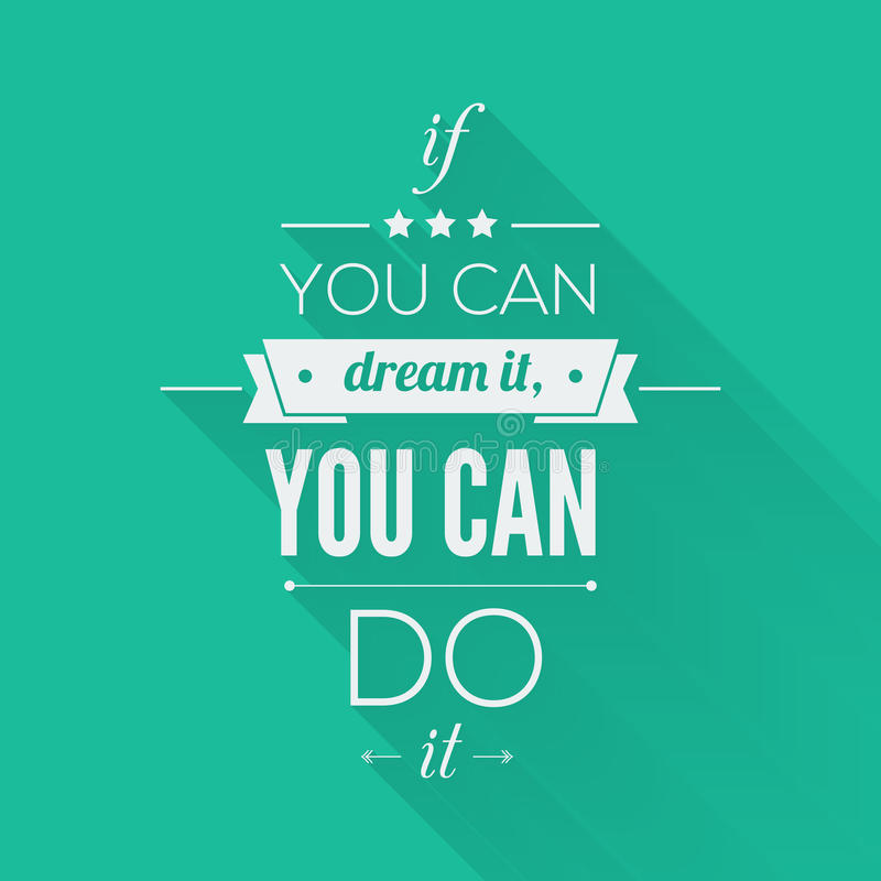 You can do it Quote Typographical Poster, Vector stock illustration