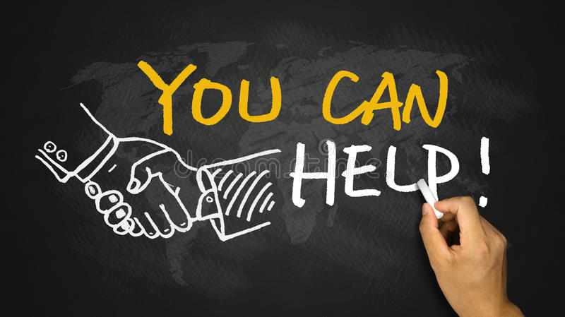 You can help. Handwritten on blackboard royalty free stock image