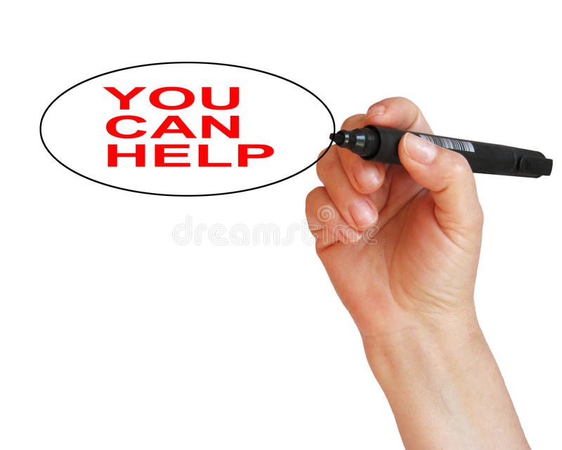 You Can Help. Word written on isolated white background stock photography